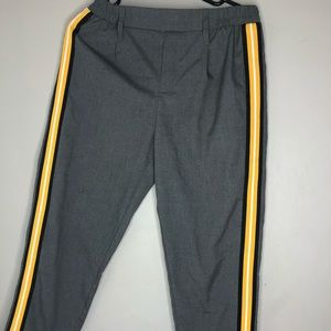 Pants - Grey Trousers with Yellow Stripes on the side